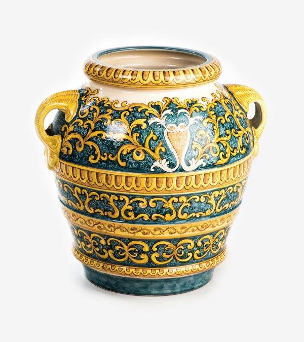 RORCIO004 orcio giara ceramica vietri cm60 barocco avossa rossoaltramonto