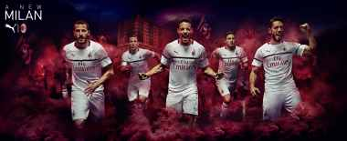 Leonardo Bonucci, Lucas Biglia, Giacomo Bonaventura, Davide Calabria and Hakan Çalhanoğlu modeling the new 2018/19 away kit. (@acmilan.com)