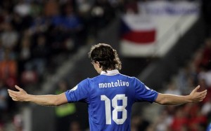 Italy's Riccardo Montolivo reacts during their 2014 World Cup qualifying soccer match against the Czech Republic in Prague