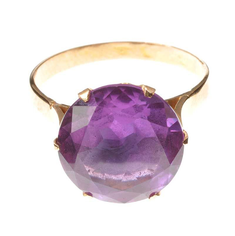 VICTORIAN 9CT ROSE GOLD AND AMETHYST RING