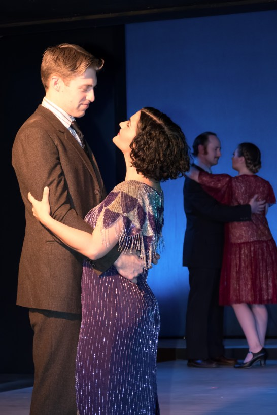 L to R Frankie Stornaiuolo as Scott Fitzgerald, Emily Dwyer as Zelda Fitzgerald, Peter Warden and Marissa Ellison as Partiers