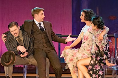 L to R Izaak Heath as Reporter, Frankie Stornaiuolo as Scott Fitzgerald, Emily Dwyer as Zelda Fitzgerald, Jannely Calmell as Grace