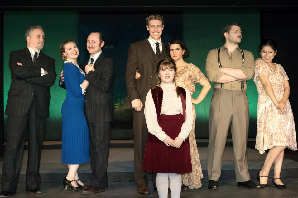 L to R - Ron Talbot as Max Perkins, Marissa Ellison as Sheilah Graham, Peter Warden as Harold Ober, Scott, Scottie and Zelda Fitzgerald, Izaak Heath as Ernest Hemingway, Jannely Calmell as Beatrice