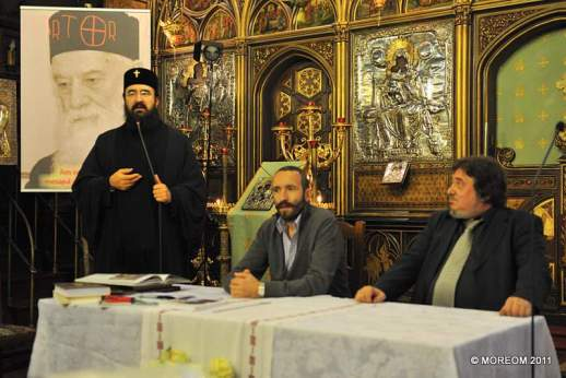 La comemorarea Părintelui Calciu, împreună cu ÎPS Mitropolit Iosif şi Lucian D. Popescu. Paris, 19 nov. 2011.