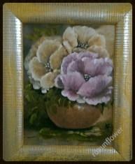 fiori astratti quadretto su lino