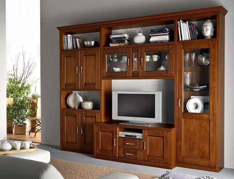 Mobile soggiorno effetto noce con vetrine, ante e porta tv (mondo. Soggiorni Classici Rosy Mobili Mobilificio Nichelino Torino Lube Store