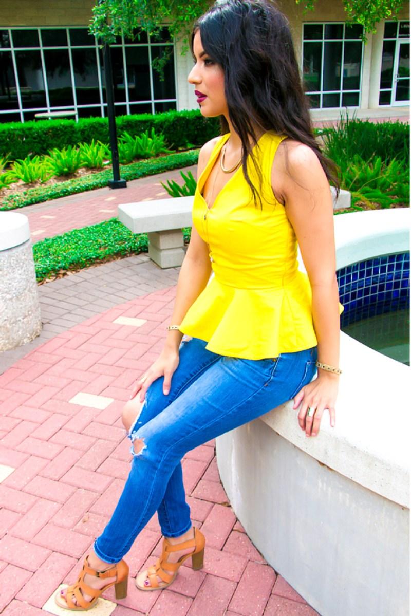 Yellow Peplum Top + Pattern Review: Simplicity 8136- Rosy | Peña