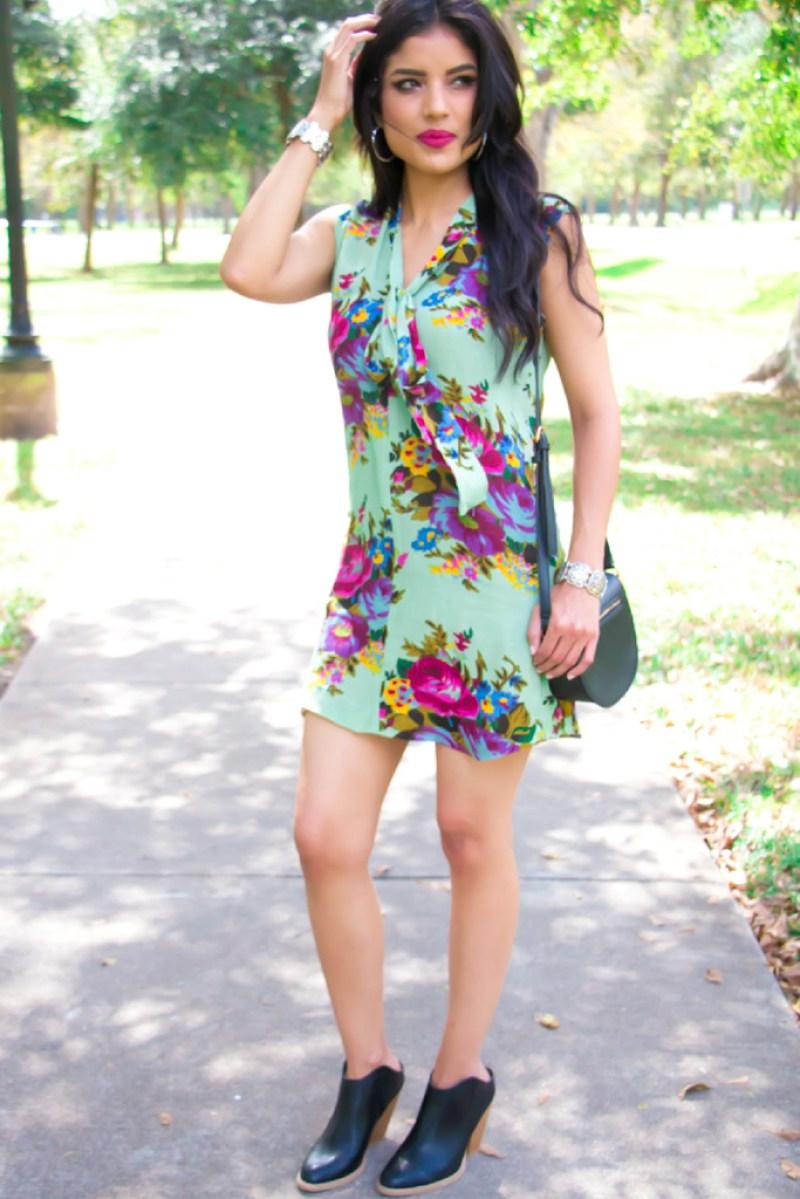 Pussy Bow Mini Dress - Rosy   Peña