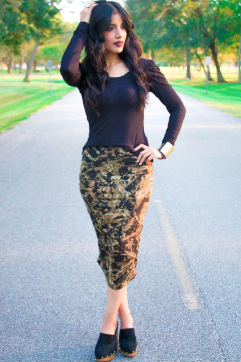 """Agnes"" Top + Camo Midi Skirt! - Rosy | Peña"