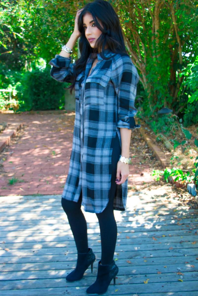 PLAID TUNIC + BLACK LEGGINGS - ROSY | PEÑA