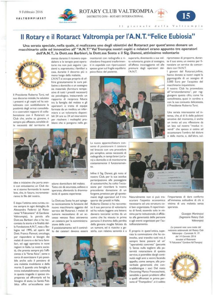 "Rotary e Rotaract per l'ANT e la ""felice eubiosia"""