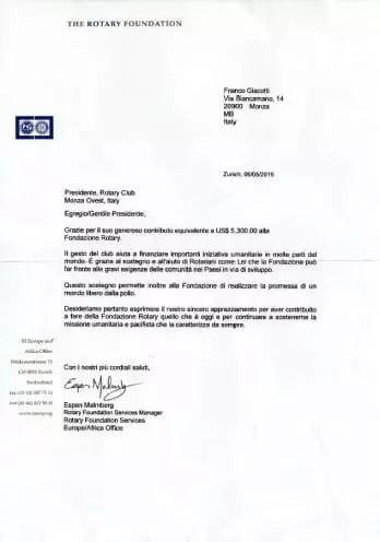 Rotary Foundation Lettera ringraziamento
