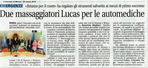BxC - Due massaggiatori Lucas per le automediche