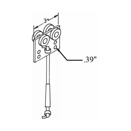 B3427-4 Pull Rope Trolley Steel Wheels 4'