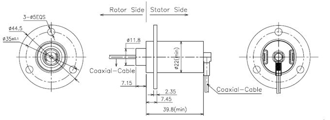 High Frequency Rotary Slip Ring 12 Circuits Transmitting