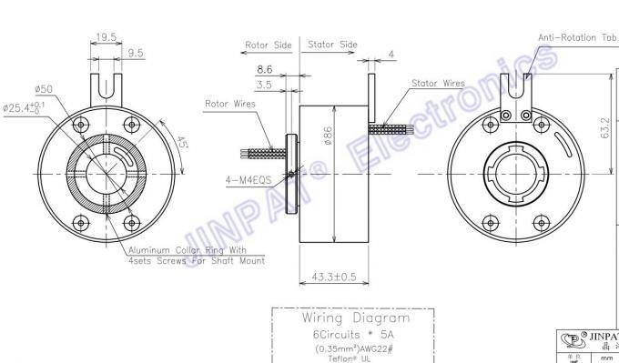 6 Circuit 5 A Per Circuit Through Bore Slip Ring,Medical