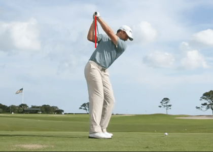 History has proven the backswing in golf can be done many different ways. Notice what a great job Michael Thompson does of getting the butt end of the club and hands just outside of his right shoulder.