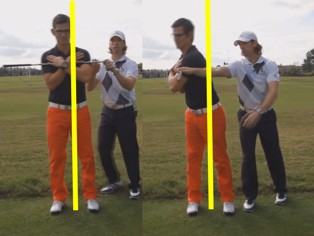 pull for a centered golf takeaway