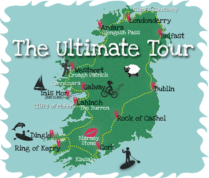 Small Map Of Ireland.The Ultimate Tour Map Small Group Tours Of Ireland Rotary Club Of