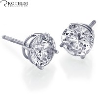 REAL 1.10 carat White Gold Diamond Stud Earrings Round ...