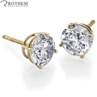 REAL 0.5 half carat Yellow Gold Diamond Stud Earrings