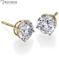REAL 0.5 half carat Yellow Gold Diamond Stud Earrings ...