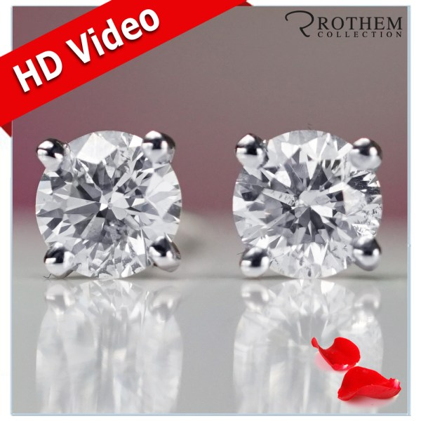 Ladies Anniversary 1 Ct Carat I3 Diamond Stud Earrings White Gold 49468343