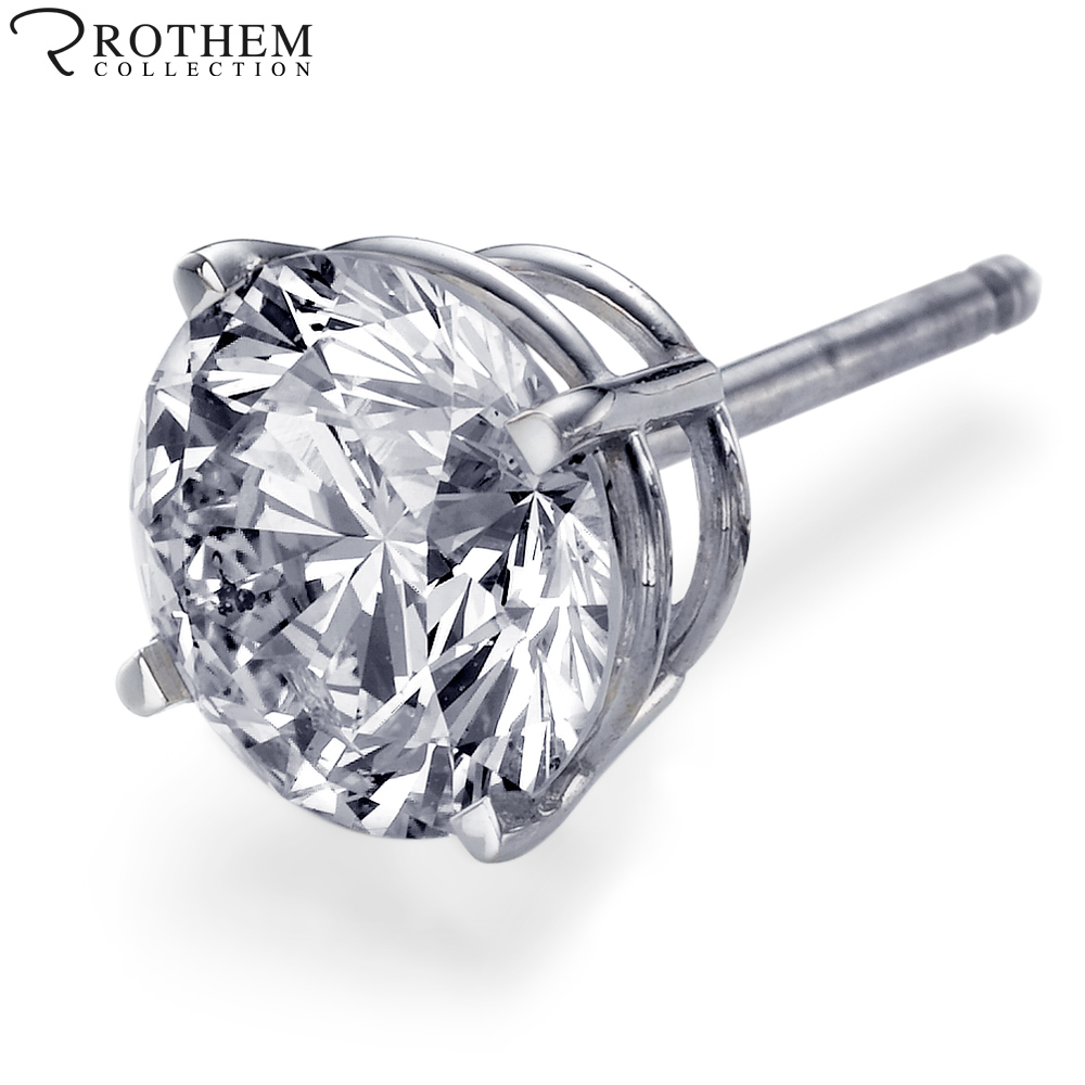 Real 0.8 carat H I2 Mens Diamond Stud Earring Screw Back