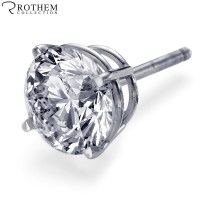 Real 0.8 carat H I2 Mens Diamond Stud Earring Screw Back