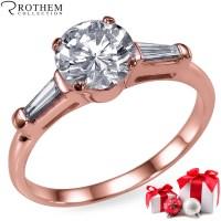 1.41 CT Three 3 Stone Diamond Anniversary Ring 14K Rose ...