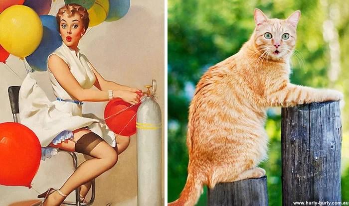 Gatos posando como garotas pin-up