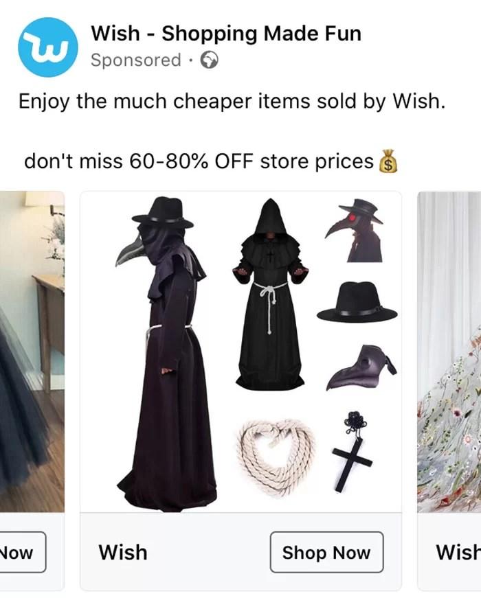 Anúncios estranhos da Wish que não têm explicações