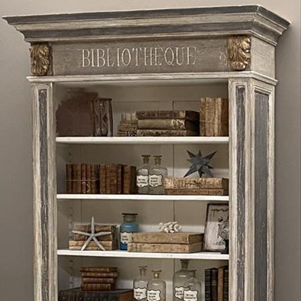 Light grey room with whitewashed wooden beams and furniture, plaster walls add texture too. Bookcases And Wardrobes In Provencal Shabby Chic And Country Style Rotini It