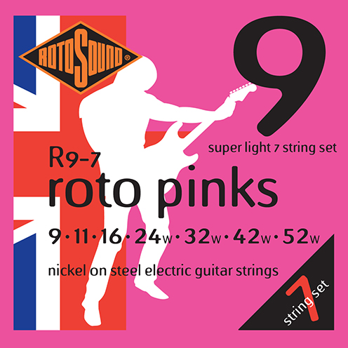 r9-7 Rotosound Roto nickel wound electric guitar strings. Best quality affordable giutar string for rock pop country metal funk blues