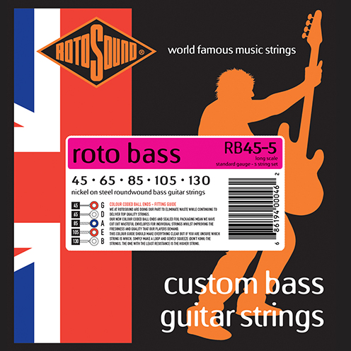 rb45-5 5 string Rotosound Roto Bass strings. Affordable Steel nickel roundwound round wound swingbass bass wire precision jazz Rickenbacker 4003 John Entwistle bajo guitare rock metal standard gauge guage regular bright