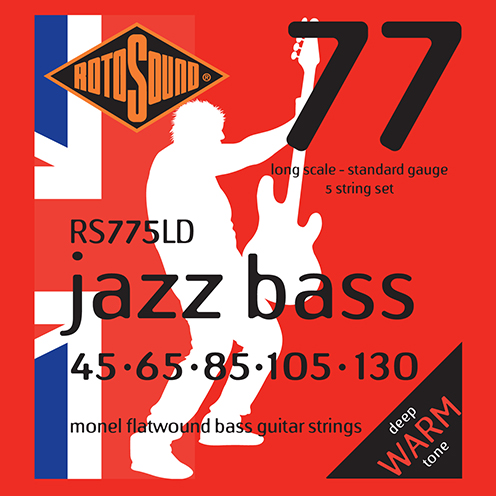 5 String Rotosound RS775 LD Jazz Bass strings. Steel Monel nickel flatwound round wound jazzbass bass wire precision jazz Rickenbacker 4003 John Entwistle bajo guitare rock jazz standard gauge regular warm full