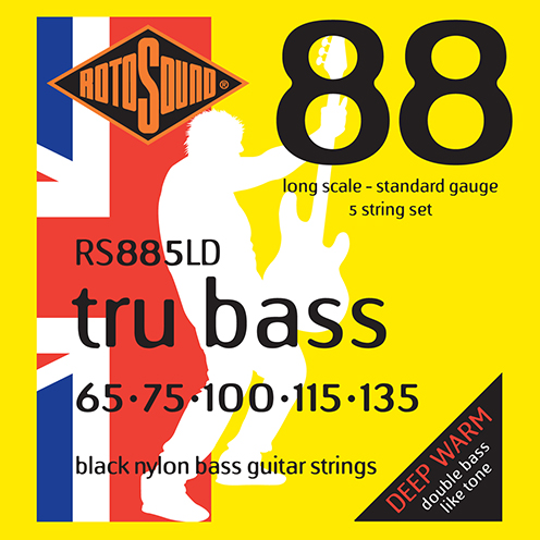 rs885ld 5 string 5string Rotosound Tru Bass guitar strings black nylon yellow silk double doublebass tone sound paul mccartney low tension fretless dub reggae