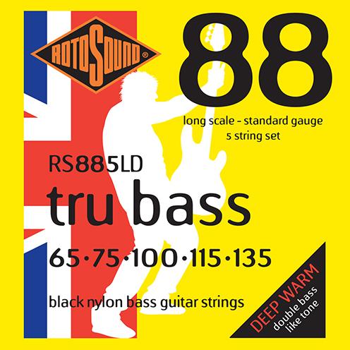 rs885ld 5 string 5string Rotosound Tru Bass guitar strings black nylon yellow silk double doublebass tone sound paul mccartney low tension fretless dub reggae