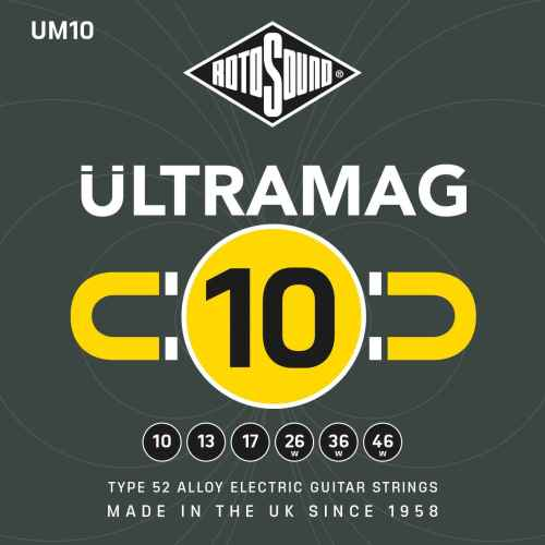 Rotosound Ultramag Ultra Mag Yellow UM10 UM 10 Electric Guitar Strings. Nickel on steel British handmade quality best instrument string. giutar stings srings wire type 52 alloy roundwound round wound plain wrapped wrap high output set premium