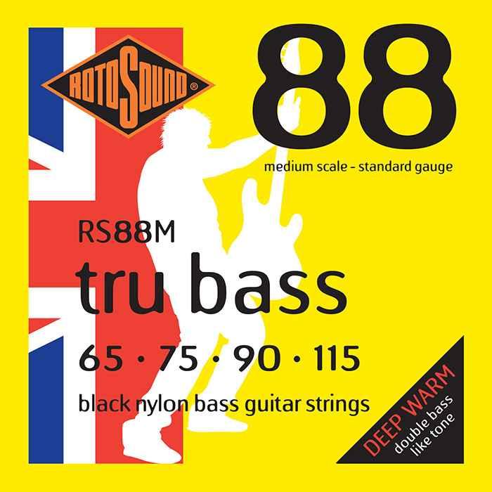 RS88M Rotosound Tru Bass guitar strings black nylon yellow silk double doublebass tone sound paul mccartney low tension fretless dub reggae