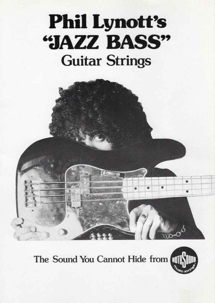 Phil Lynott Thin Lizzy Jazz Bass strings advert Rotosound archive copy