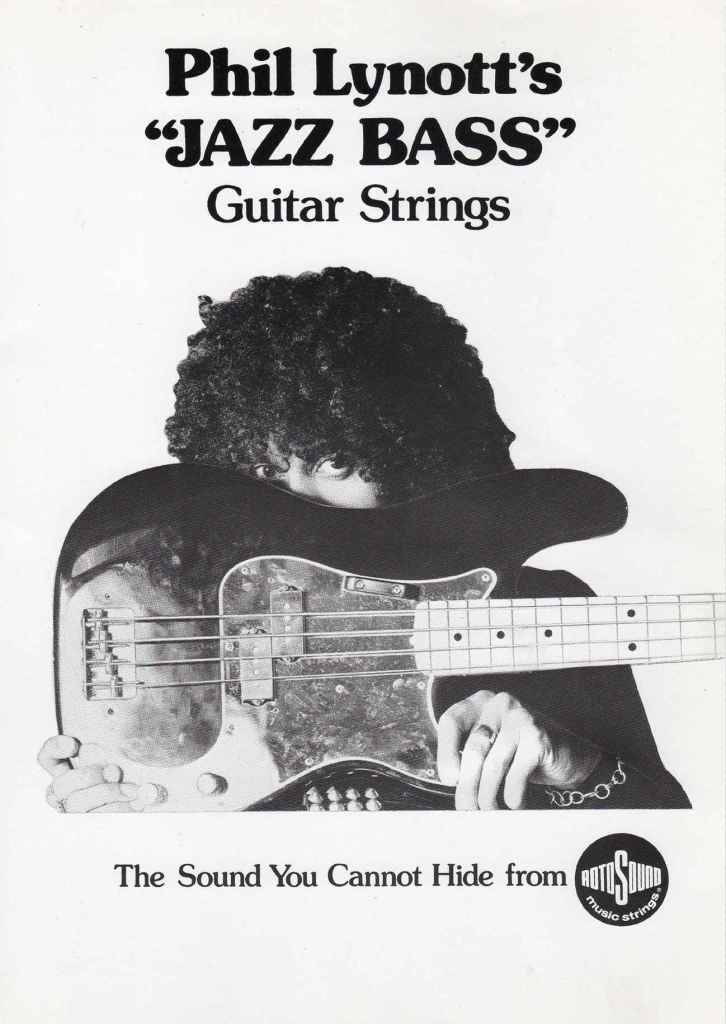 Phil Lynott Thin Lizzy Jazz Bass strings advert bad reputation tour 1977 Rotosound archive