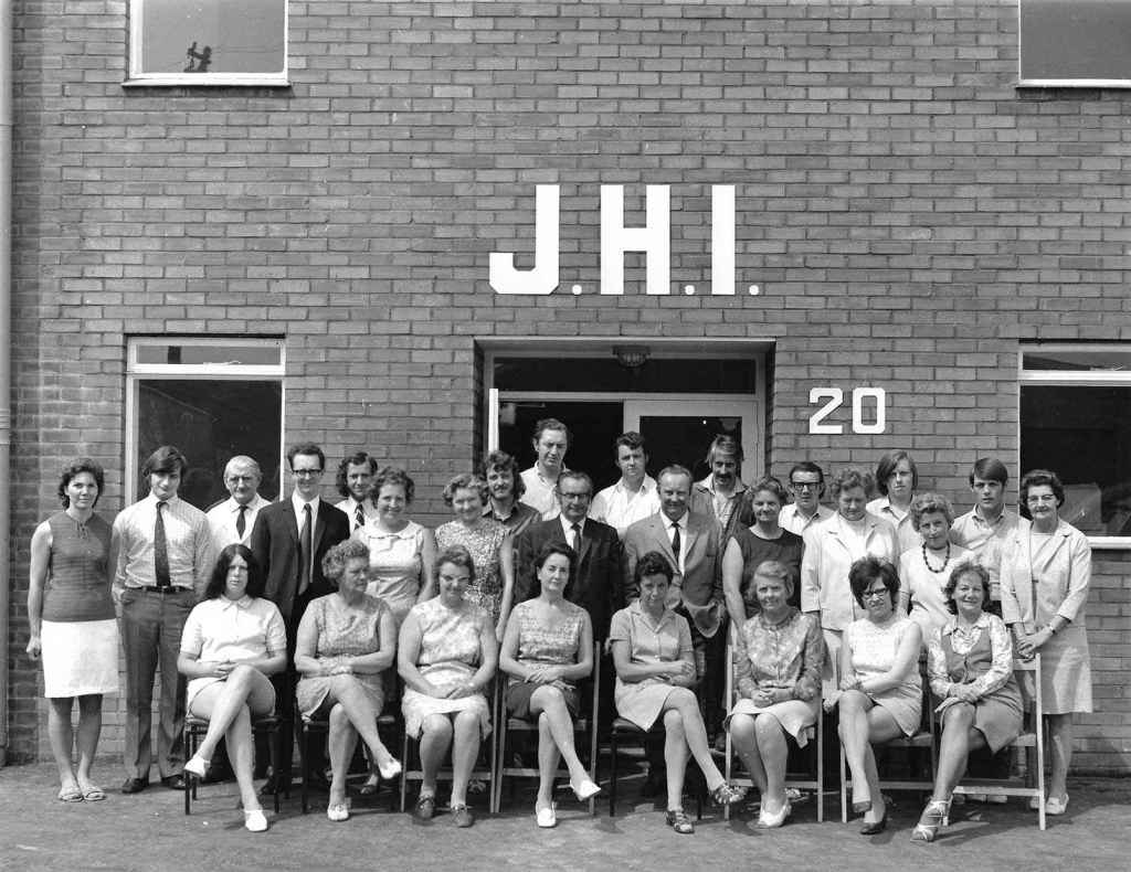 Staff outside JHI factory 20 Upland Road Sidcup
