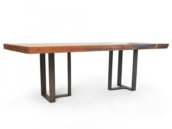 Rotsen-Furniture-Miami-Interior-Design-Single Slab Walnut Dining Table - Metal Base Rotsen Furniture 03