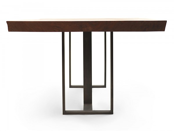 Rotsen-Furniture-Miami-Interior-Design-Single Slab Walnut Dining Table - Metal Base Rotsen Furniture 04