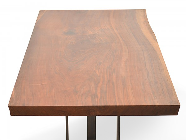 Rotsen-Furniture-Miami-Interior-Design-Single Slab Walnut Dining Table - Metal Base Rotsen Furniture 05