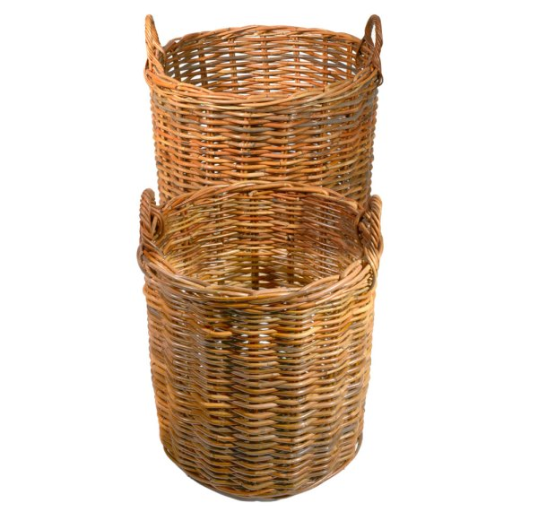 Set of 2 Round Natural Kubu Log Baskets - Roudham Trading