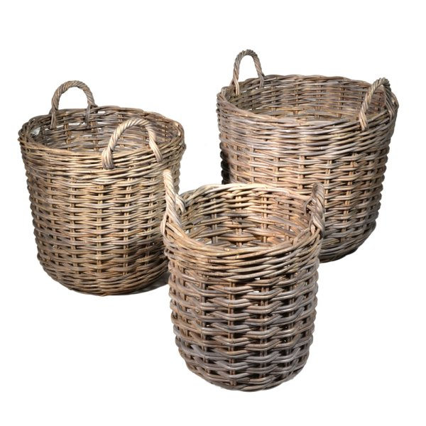Grey Round Floral Basket