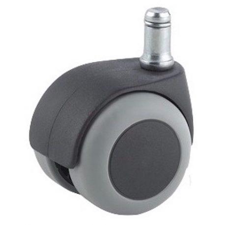 roulette fauteuil diametre 50 caoutchouc gris a tige lisse 11x22