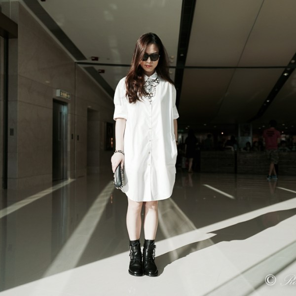 White Shirtdress, Acne Studios white shirtdress, Saint Laurent, Saint Laurent ranger boots, black boots, studded black boots, Saint Laurent sunglasses, 3.1 Phillip Lim clutch, street style, casual style, monochrome